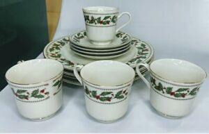 12pc Set The Cellar IVORY HOLLY Dinnerware Pieces Dinner Plates Cups Saucers NIB