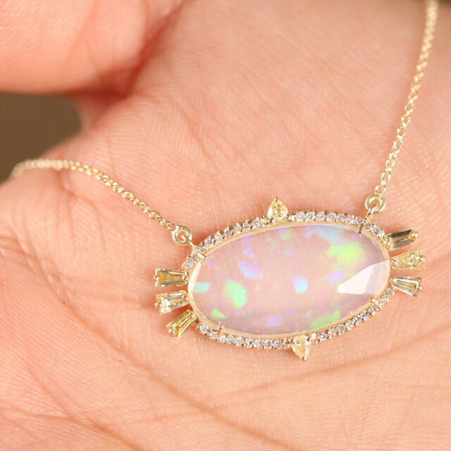Solid 14K Yellow Gold Genuine Opal Gemstone Pendant Necklace Fine Jewelry