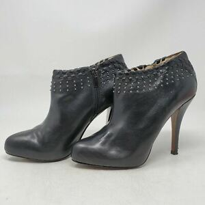 Enzo Angiolini Black Leather Studded Ankle Boots Booties sz 8 M Stiletto Heels