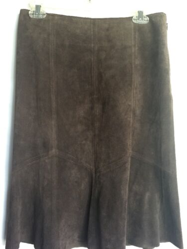 Karen Kane Suede Brown 100% Leather Skirt Flare Si