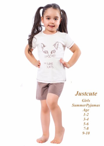 Fun Kids tout-petits été Pyjamas fille cat impression 93 /% coton pyjama 1 à 10 ans