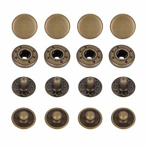 Leather Snap Fasteners Kit Metal Press Studs Buttons Snap Press Studs 10mm 12mm 15mm 17mm with Setting Tools Bronze