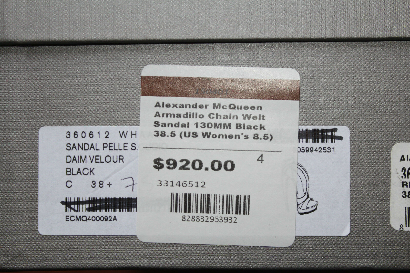 ALEXANDER MCQUEEN ARMADILLO  CHAIN WELT SANDAL nero    8.5us  920 c5c3ec
