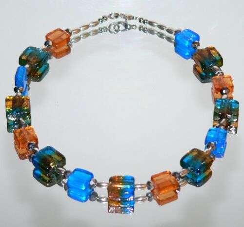 Halskette Kette Glas Lampwork Murano Art zweito türkis topas silber 435a