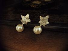 Vintage Silver Ivy Leaf with Pearl Drop Pierced Earrings