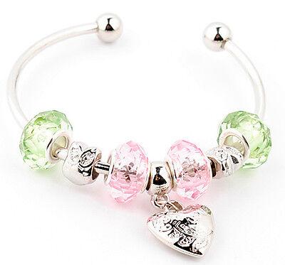1PC Designed Chic crystal silver European heart beaded charms bangle bracelet J8