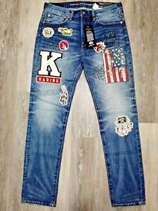38X32-AMERICAN-EAGLE-AE-X-KEITH-HARING-PATCHES-GRAPHICS-MEN-039-S-SLIM-FIT-JEANS
