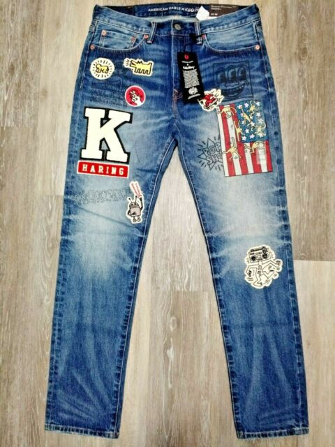 [NWT] AMERICAN EAGLE (AE) X KEITH HARING PATCHES & GRAPHICS MEN'S SLIM FIT JEANS