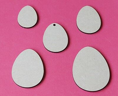 40mm to 100mm Laser Cut Rustic Wooden MDF Easter Egg Shapes