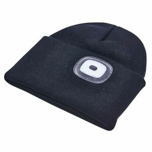 Black Beanie Hat 4 LED Torch Light Head Lamp One Size Outdoors Camping Fishing