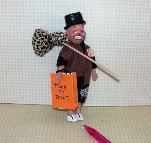 DOLLHOUSE 1:12 Miniature BRUNETTE Boy in  HOBO Halloween Costume and Mask