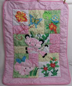 Fisher Price Baby Blanket Crib Quilt Animals Pink Ebay