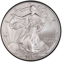 2001 US Mint $1 American Silver Eagle 1 oz Silver Coin Direct From Mint Tube