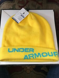 UNDER-ARMOUR-Cold-Gear-Beanie-Bright-Yellow-w-Blue-New-w-Tags