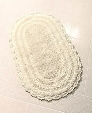 "Elegant Reversible Ivory Cotton Bath Rug 24"" X 40"" Oval Bathroom Mat Home Decor"