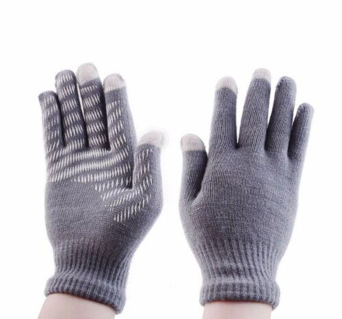 Women Men Winter Solid Cashmere Knit Silicone Non-slip Warm Fleece Magic Gloves
