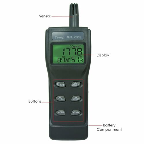 CO2 Carbon Dioxide Meter Humidity Temperature Tester w// PC Software Monitor