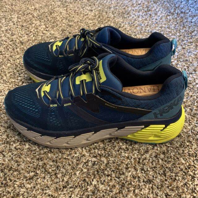Hoka One One Gaviota 2 Mens Size 10.5 Running Shoes Blue/Yellow EUC