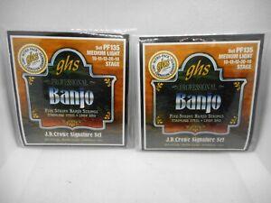 2 Pack GHS 5 String Med LT Banjo String Set PF135 Stage-Signature Set