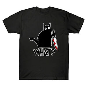 What Black Cat Holding Knife Funny Halloween Gift Men's Short Sleeve T-Shirt Tee