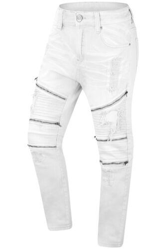 Nuovi Jeans strappati jeans Premium lampo 32 42 cerniera Stretched con Biker Rips Denim rrqB6
