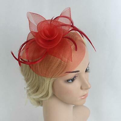 Ladies Accessories Evening Party Wedding Feather /& Mesh Flower Hair Fascinators