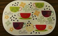 Set Of 4 Kitchen Deluxe Vinyl Non Clear Placemats (18 X 12) Coffee