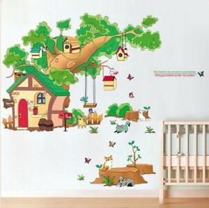 Removable-Wall-Sticker-Animal-Tree-House-Children-039-s-Room-baby-Room-Nursery-Kids