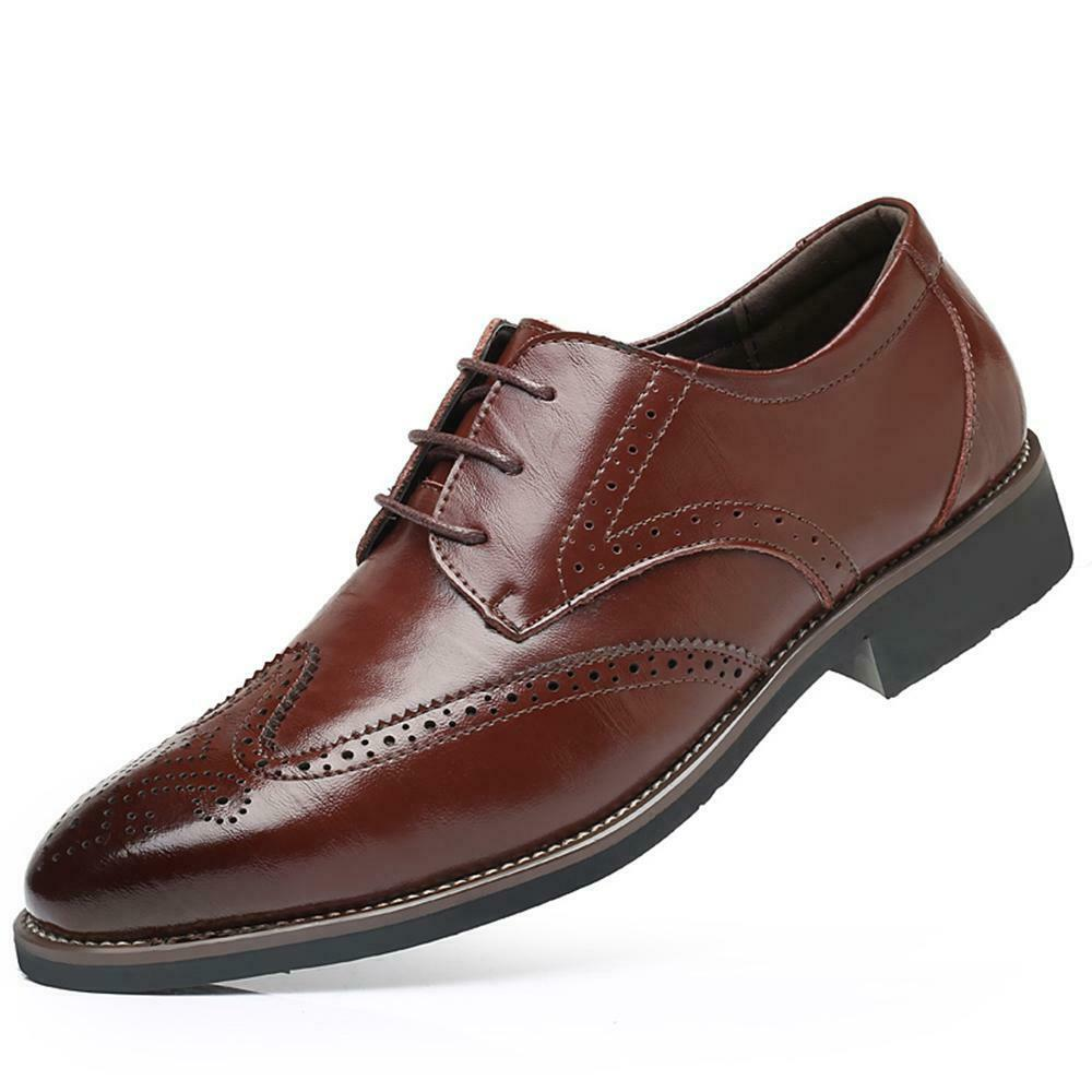 Men's Breathable Brown Leather Lace Up Walking Casual Athletic Training Footwear