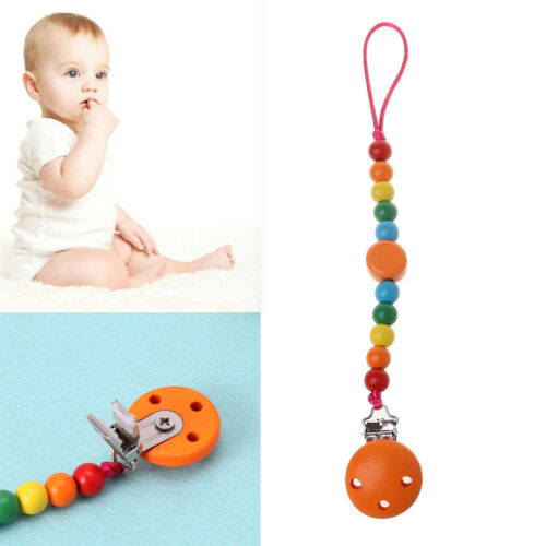 Rainbow Wood Beaded Pacifier Clip Dummy Chain Nipple Holder For Infant Soother