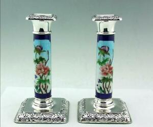 ANTIQUE  SOLID SILVER & ENAMEL CANDLESTICKS