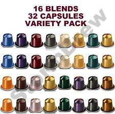 32 ORIGINAL NESPRESSO COFFEE PODS: 16 BLENDS VARIETY TASTER, STARTER PACK