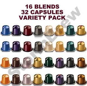 32 original nespresso coffee pods 16 blends variety taster starter pack ebay. Black Bedroom Furniture Sets. Home Design Ideas