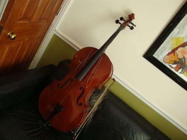 Vintage Full Size Cello & Case & Bow By Adler