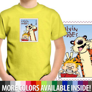 Calvin-amp-Hobbes-Stamp-Funny-Cool-Awesome-Unisex-Boy-Girl-Kids-Tee-Youth-T-Shirt