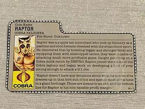 GI Joe 1987 Raptor v1 File Card
