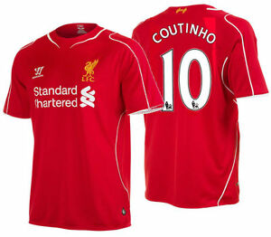 finest selection c2c87 a2884 Details about WARRIOR PHILIPPE COUTINHO LIVERPOOL FC HOME JERSEY 2014/15.