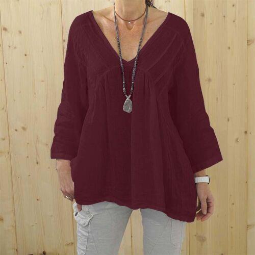 DE Damen 3//4 Arm Literarisch Tops Hemd Beach Soft Baumwolle Lose Bluse T-Shirts