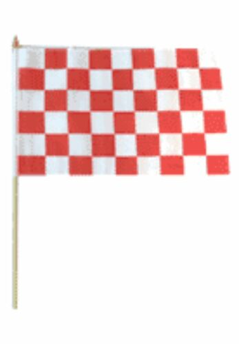 """12x18 12/""""x18/"""" Red and White Checker Checkered Stick Flag wood Staff"""