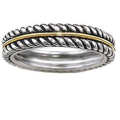 Precious Metal Without Stones Fine Jewelry Reasonable Andrea Candela 18ct Oro Amarillo & Plata De Ley Cable Eternidad Anillo Banda Driving A Roaring Trade
