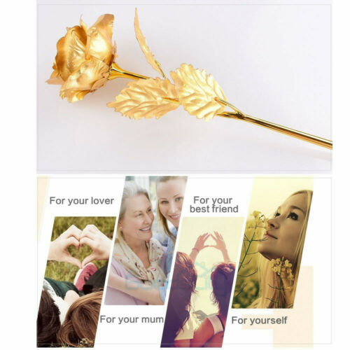 MOTHERS DAY GIFT FOR MOM 24K Gold Plated Rose Dipped Flower Love Decor Women NEW
