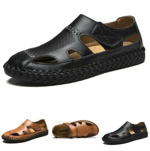 Summer Mens Beach Sandals Shoes Hollow out Flats Closed Toe Outdoor Walking 45 D