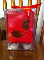 Target Brand Tealight Set Tea Light Holly Red Ceramic 4 Lights Christmas