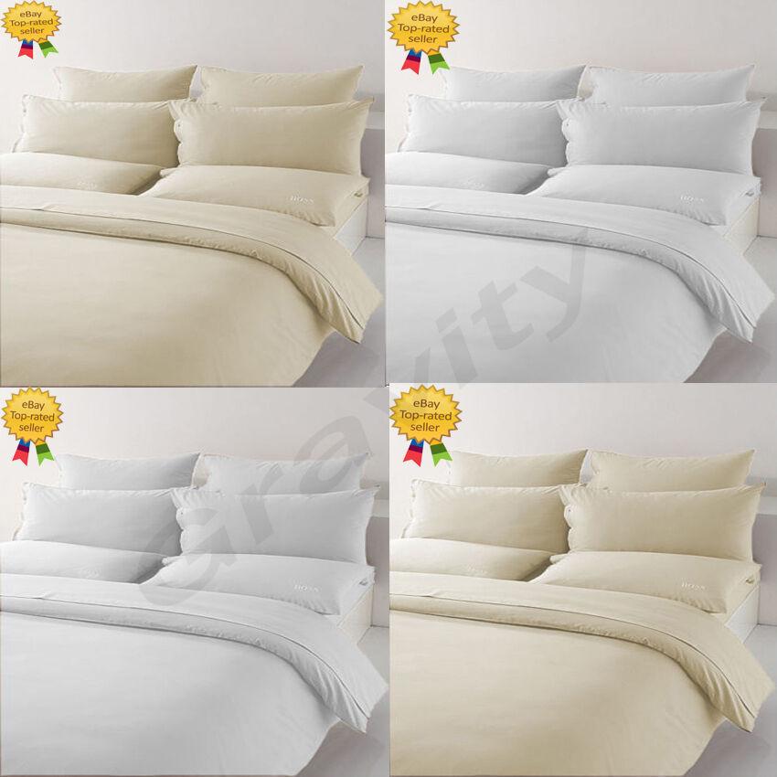 Luxury Plain 100% Egyptian T-400 Cotton Duvet Cover Pillow Cases Set All Größes