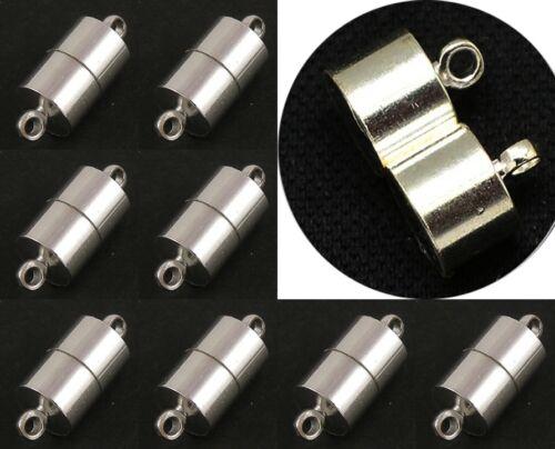 4 Fermeture Magnétique Connecteurs Fermoirs laiton 20 mm Tube Argent m382