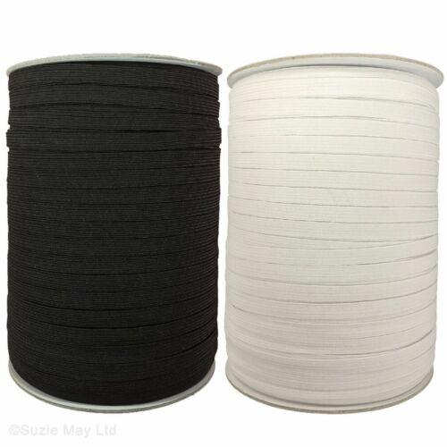 white 5mm Flat Elastic Cord stretch cord 1//4 Inch Inch Elastic band black