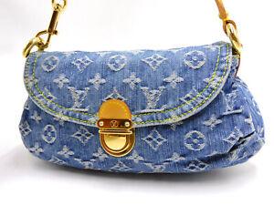 LOUIS VUITTON Mini Pleaty Hand Bag Shoulder Bag Monogram Denim Blue M95050 V4366