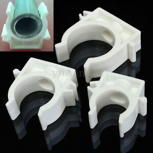 Image is loading 10x-White-Plastic-PPR-Heat-Fusion-Plumbing-Pipe- & 10x White Plastic PPR Heat Fusion Plumbing Pipe Tube Clips Clamps ...