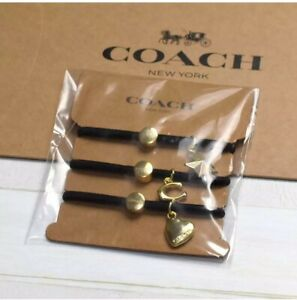 Coach-Hair-Bands-3-Pack-w-Gold-Dangle-Charms-Star-Heart-amp-Signature-C