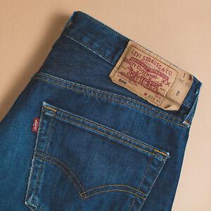 Vintage-Levi-501-Jeans-blau-Knopfleiste-rot-Etikett-unisex-Taille-w33l34-W-32-L-33